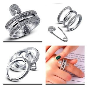 Cute Safety Pin Ring Set Size 8 Only